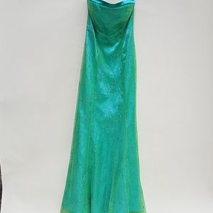 Morgan & Co. Neon teal formal Prom 7/8 strapless